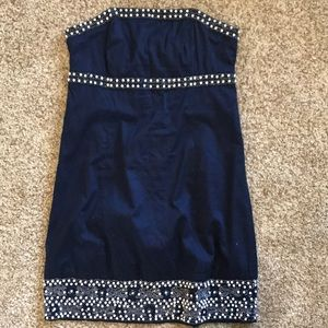 Navy strapless Lily Pulitzer with pearl beading